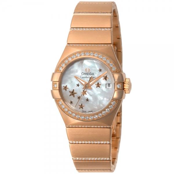 New đồng hồ Omega constellasion vàng hồng kim cương