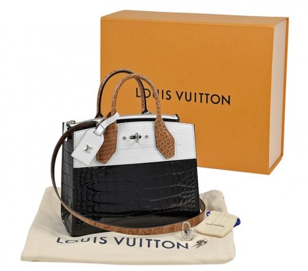 Túi Louis Vuitton City steamer Pm da cá sấu aligator đen trắng