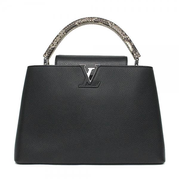 S Túi xách Louis Vuitton Capucines MM da trăn màu đen