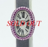 Đồng hồ CARTIER Baignoire saphia hồng WG