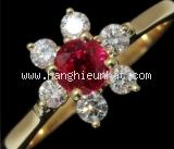 Nhẫn Tiffany&Co YG rubi size 10