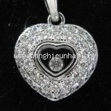 Vòng cổ Chopard trái tim 2 vòng kim cương