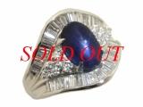 Nhẫn kim cương Pt900 Sapphire xanh 3.29ct