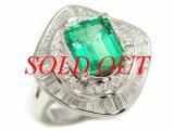 Nhẫn kim cương đá xanh Pt900 2.81ct