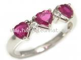 Nhẫn kim cương màu hồng K18WG / Ruby 1.00ct