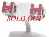 Bông tai Hermes màu hồng khối H h08A