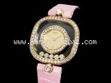 Đồng hồ Chopard kim cương dây da hồng