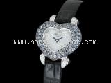Đồng hồ Chopard kim cương hình trái tim dây da đen