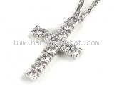 S Vòng cổ Cartier K18WG kim cương chữ thập