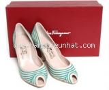 NEW Giày cao gót Ferragamo size 7 1/2 kẻ xanh