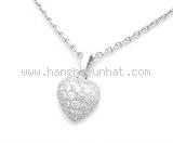 Vòng cổ Cartier K18WG kim cương trái tim