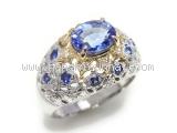 Nhẫn K18YG Sapphire xanh 0.18ct