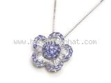 Vòng cổ K18WG kim cương sapphire