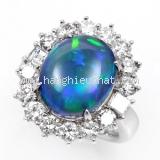 Nhẫn kim cương Black opal