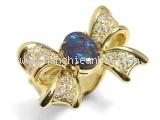 Nhẫn black opal hình nơ