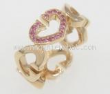 Nhẫn Cartier C heart saphia hồng