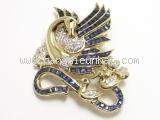 Cài áo Saphia xanh hình chim phượng