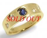 Nhẫn Mikimoto saphia xanh