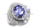 Nhẫn kim cương saphia xanh 2.80ct
