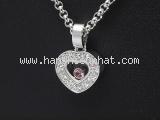 Vòng cổ Chopard K18WG kim cương 1P hồng saphire