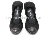 S Giày Chanel size 37 1/2 đen