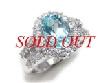 Nhẫn kim cương PT900 1.60ct đá 2.836ct xanh bạc