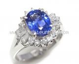 Nhẫn kim cương saphia xanh 2.24ct