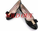 MS3921 Giày Ferragamo size 5 1/2D đen bóng