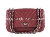 Túi xách Chanel lambskin màu đỏ đậm
