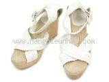 Sandal cao gót Hermes size 37 trắng be