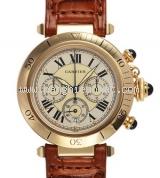 Đồng hồ Cartier pasha nam K18YG dây da nâu