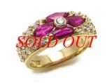 Nhẫn Mikimoto K18YG Ruby 1.14ct Kim cương  0.73ct