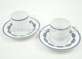 Bộ cốc uống trà Hermes màu trắng xanh