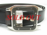 S Thắt lưng Cartier santos mặt đen bạc