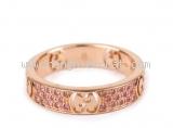 Nhẫn Gucci đá saphire K18PG vàng hồng size 8