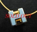 Vòng cổ Hermes chữ H màu xanh vàng