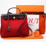 Túi xách Hermes herbag PM màu nâu đỏ