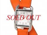 S Đồng hồ Hermes dây da cam CC1.210