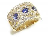 Nhẫn K18YG saphire 1.00ct kim cương 1.60ct size 14.5