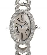 Đồng hồ Cartier K18WG kim cương màu bạc