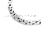 Vòng cổ Cartier K18WG kim cương panthere