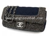 S Túi Chanel vải nâu xanh hải quân