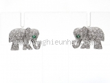 Bông tai Cartier K18WG kim cương con voi