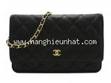 S Túi xách Chanel woc màu đen khóa vàng