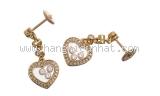 Bông tai chopard K18YG kim cương trái tim
