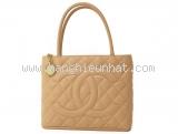 Túi xách Chanel caviar màu kem A01804