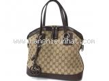 Túi xách nữ Gucci màu be viền da nâu đen 247279