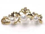 Trâm cài áo Mikimoto K18YG kim cương ngọc trai