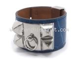 NEW Vòng tay Hermes xanh bạc