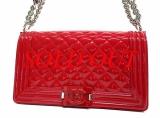 Túi xách Chanel Boy màu đỏ Authentic